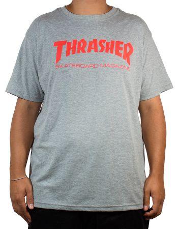 Camiseta Thrasher Skate Mag Cinza Logo Vermelho