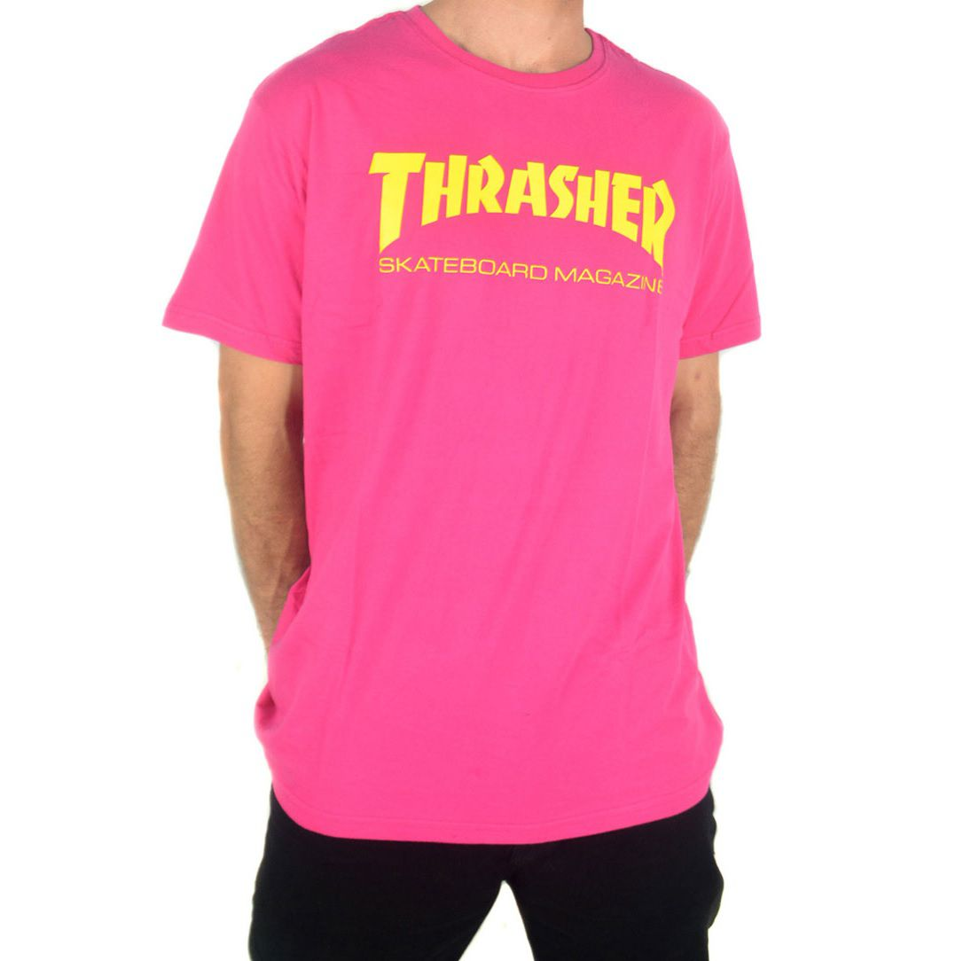 Camiseta Thrasher Skate Mag Pink Logo Amarelo
