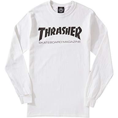 Camiseta Thrasher Skatemag Manga Longa Branca