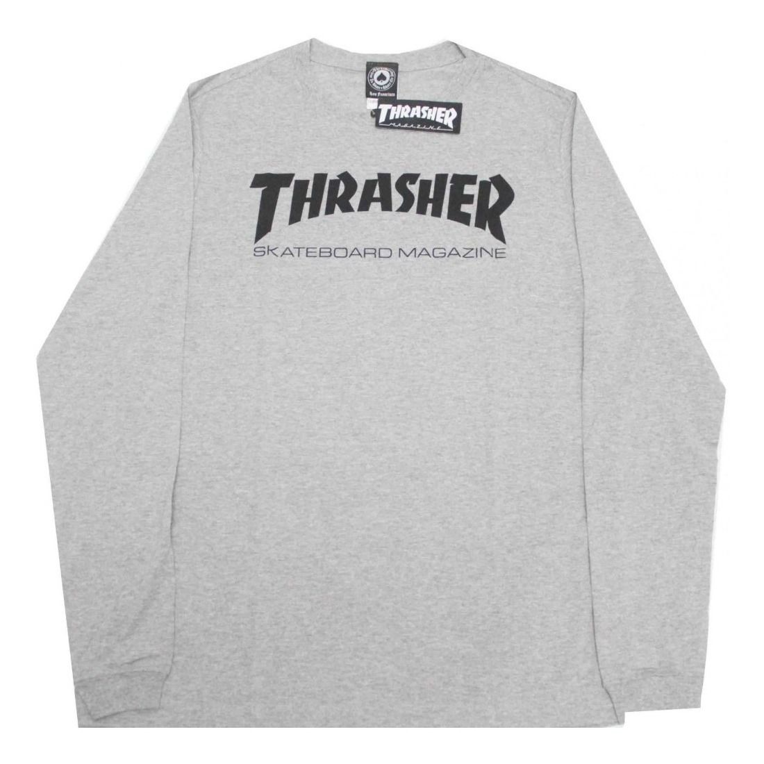 Camiseta Thrasher Skatemag Manga Longa Cinza