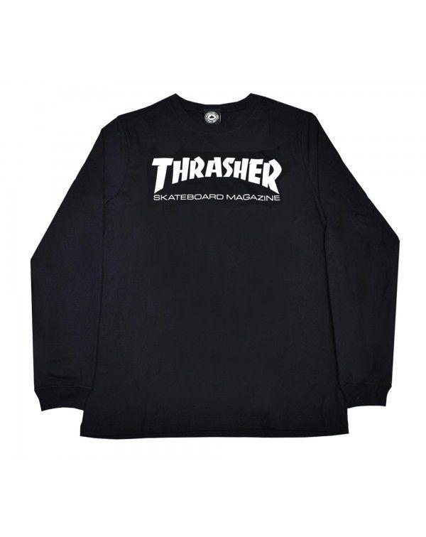 Camiseta Thrasher Skatemag Manga Longa Preta