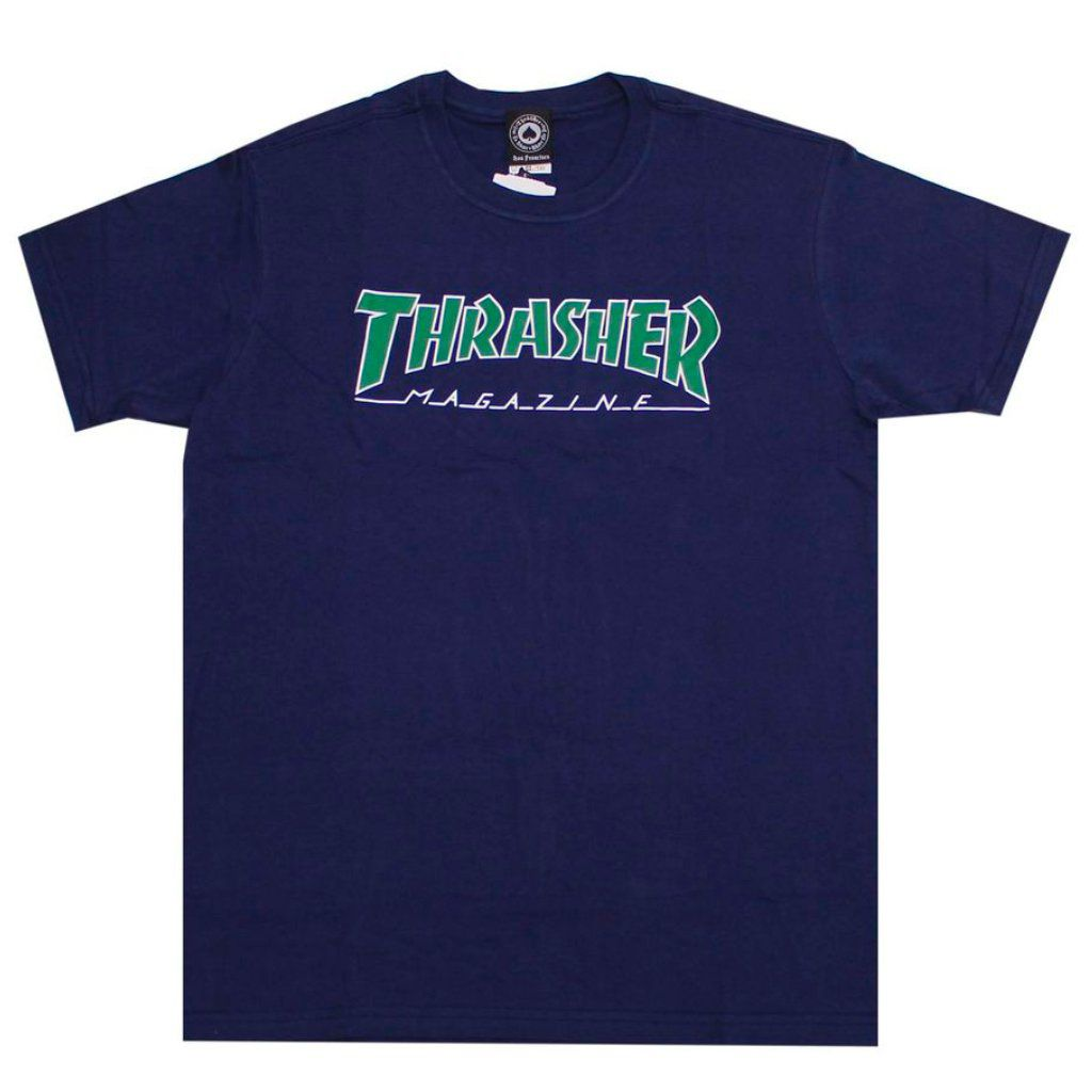 Camiseta Thrasher Outlined Marinho Logo Verde