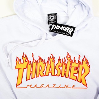 Moletom Thrasher com capuz Flame Branco