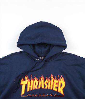 Moletom Canguru Thrasher Flame Azul Marinho