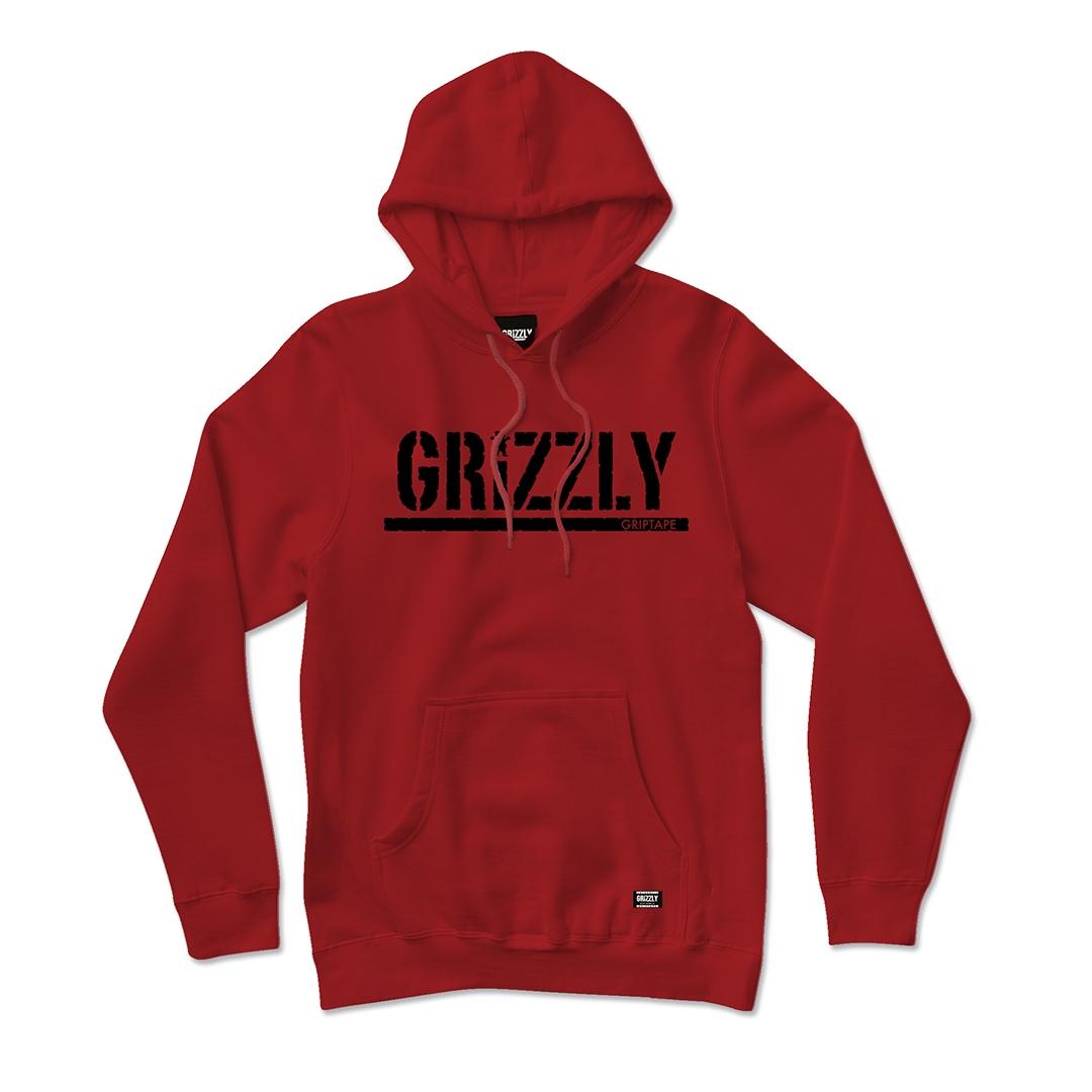 Moletom Grizzly com Capuz Stamped  Vermelho