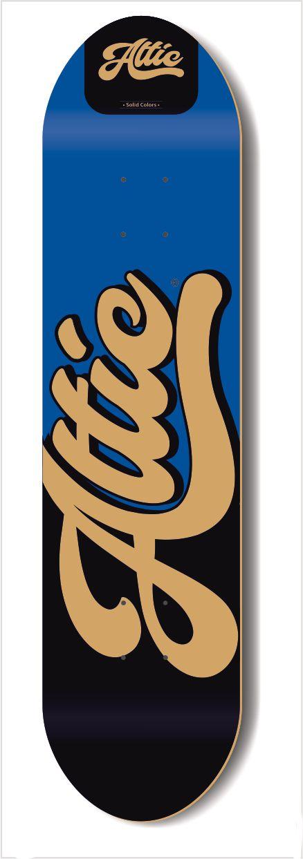 Shape Profissional Attic Skateboard Marfim Solid Colors Azul 8.0