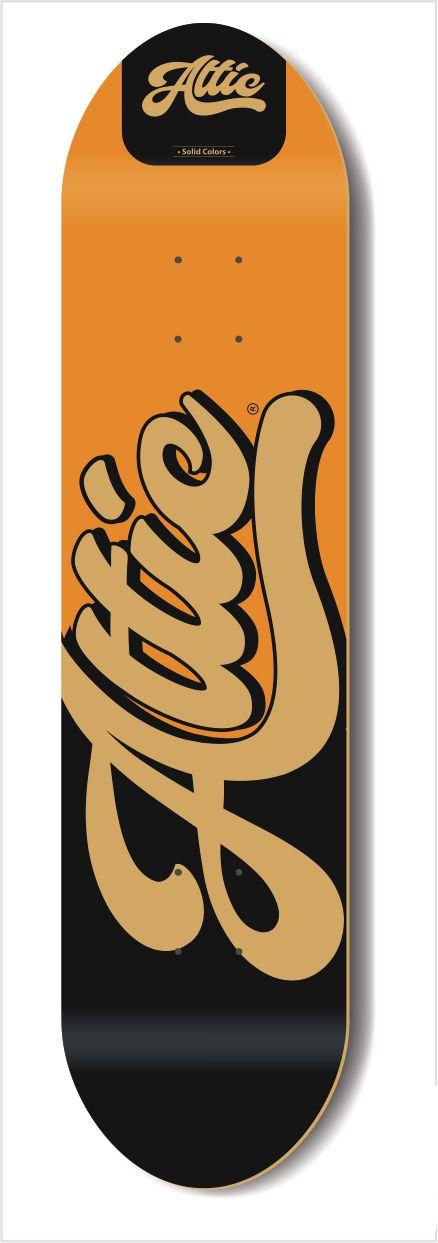 Shape Profissional Attic Skateboard Marfim Solid Colors Laranja 7.75