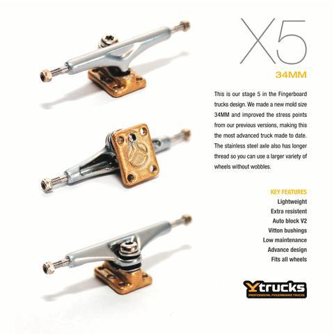 Truck Fingerboard Ytrucks X5 34mm Polished Prata