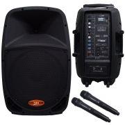 """Caixa de Som Ativa Donner 12"""" DR12BAT Bateria Interna, USB, Bluetooth e 2 microfones sem fio"""