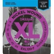 Encordoamento Guitarra D'Addario .009-.054 EXL120-7 Super Light 7 cordas