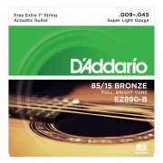Encordoamento Violão Aço D'Addario .009-.045 EZ890-B 85/15 Bronze Super Light