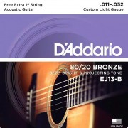 Encordoamento Violão Aço D'addario .011-.052 EJ13-B 80/20 Bronze Custom Light