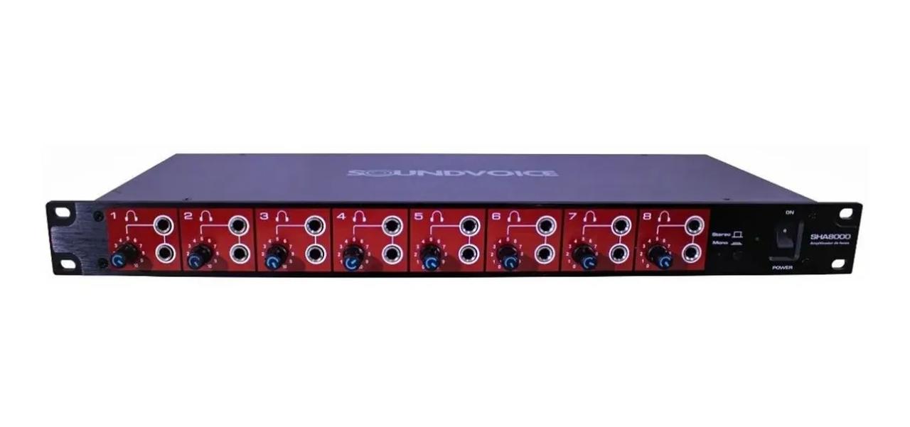 Amplificador de Fones de Ouvido Soundvoice SHA8000 8 Canais