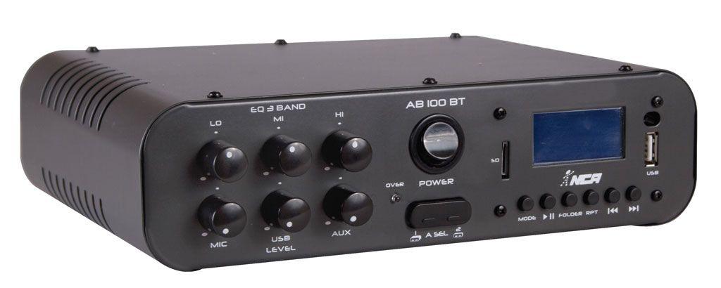 Amplificador NCA Para Som Ambiente USB/SD e Bluetooth AB 100 BT