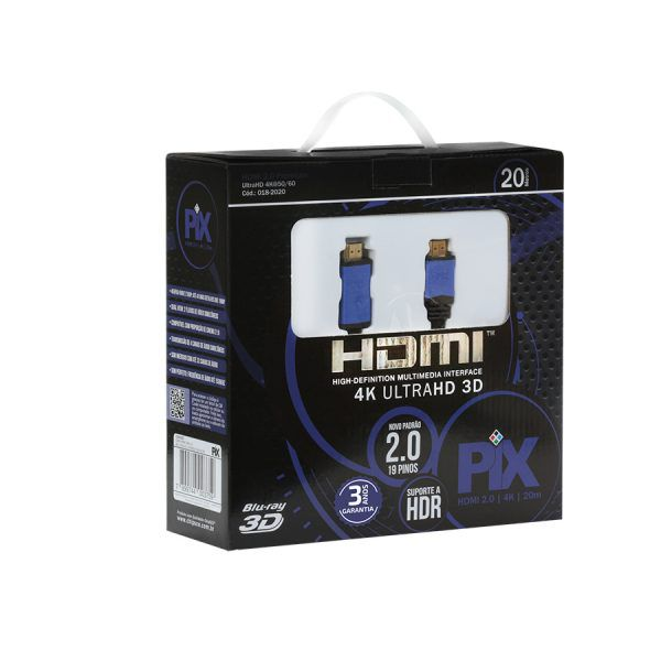 Cabo HDMI 2.0 Plus 20 metros PIX - 4K UltraHD 3D 19 Pinos