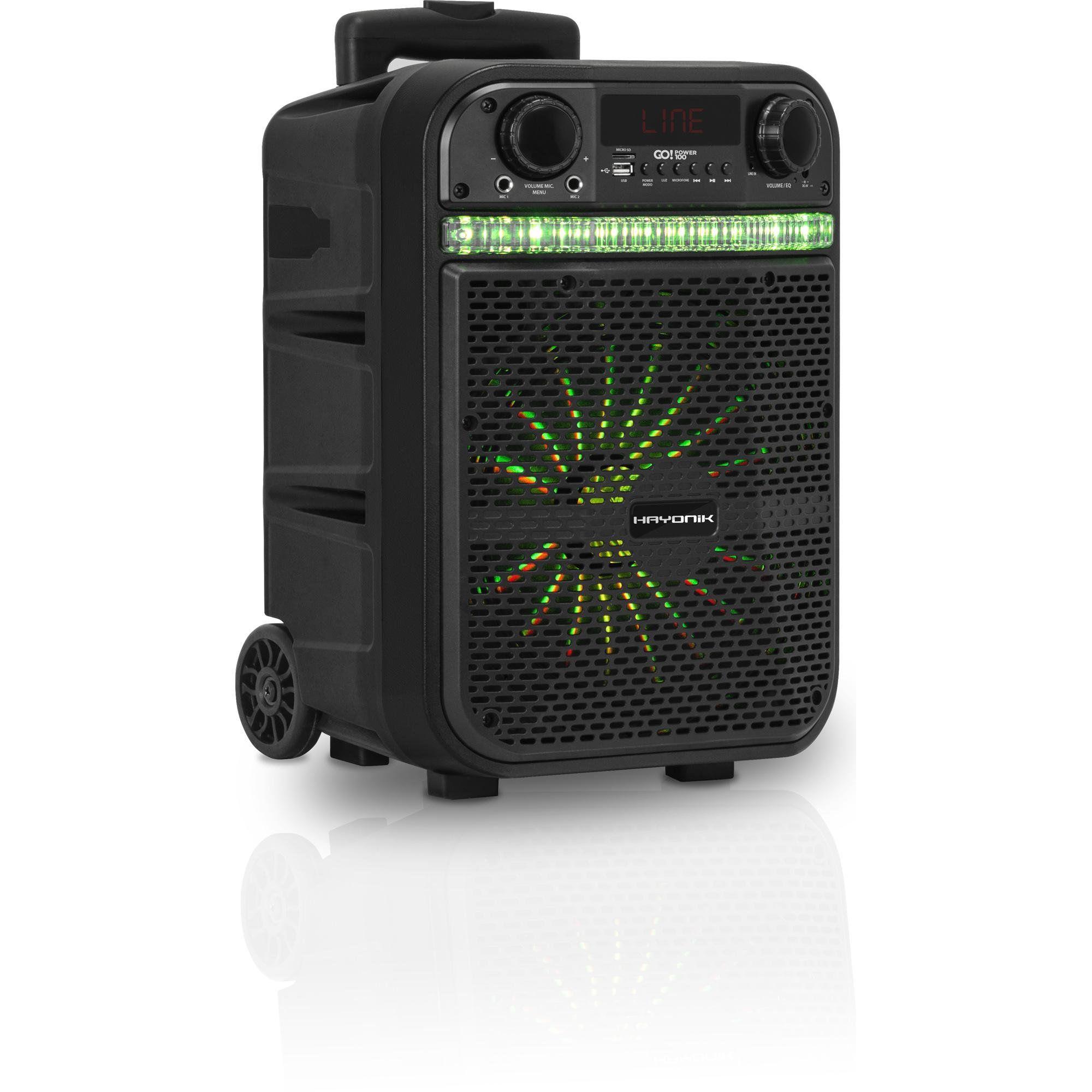 Caixa Multiuso Ativa Portátil Hayonik 20W RMS Bluetooth MicroSD USB FM 80W GO!POWER 100