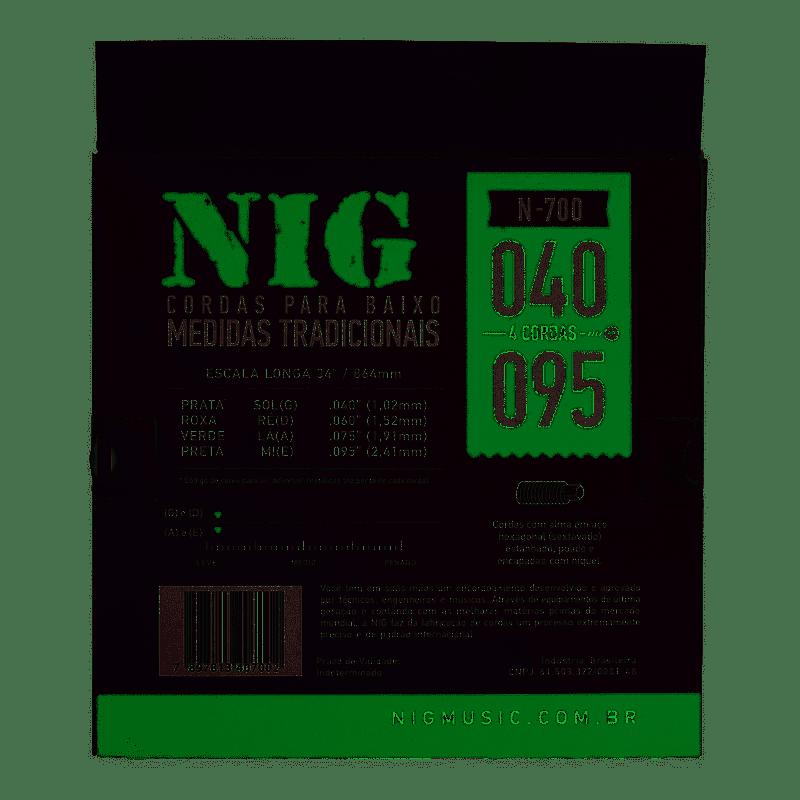 Encordoamento para Contra Baixo NIG 4 Cordas N-700 .040-.095
