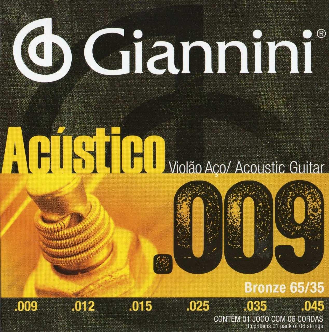 Encordoamento Violão Aço Giannini 009 Bronze GESWAL