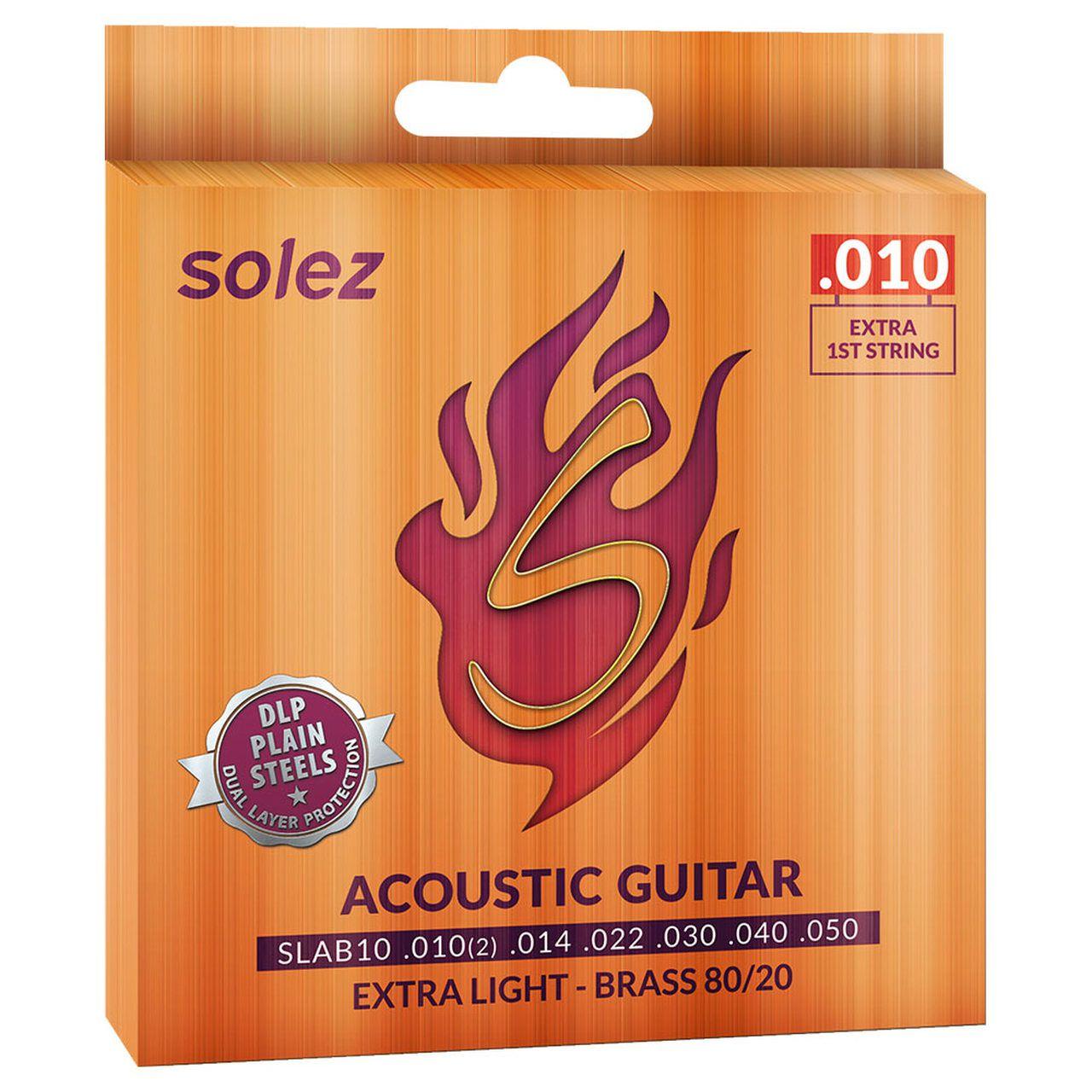 Encordoamento Violão Aço Solez 010 Brass 80/20 Extra Light