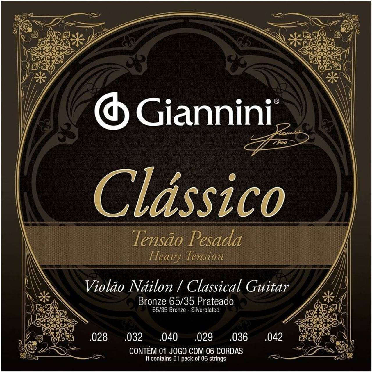 Encordoamento Violão Nylon Giannini GENWPA Tensão Pesada