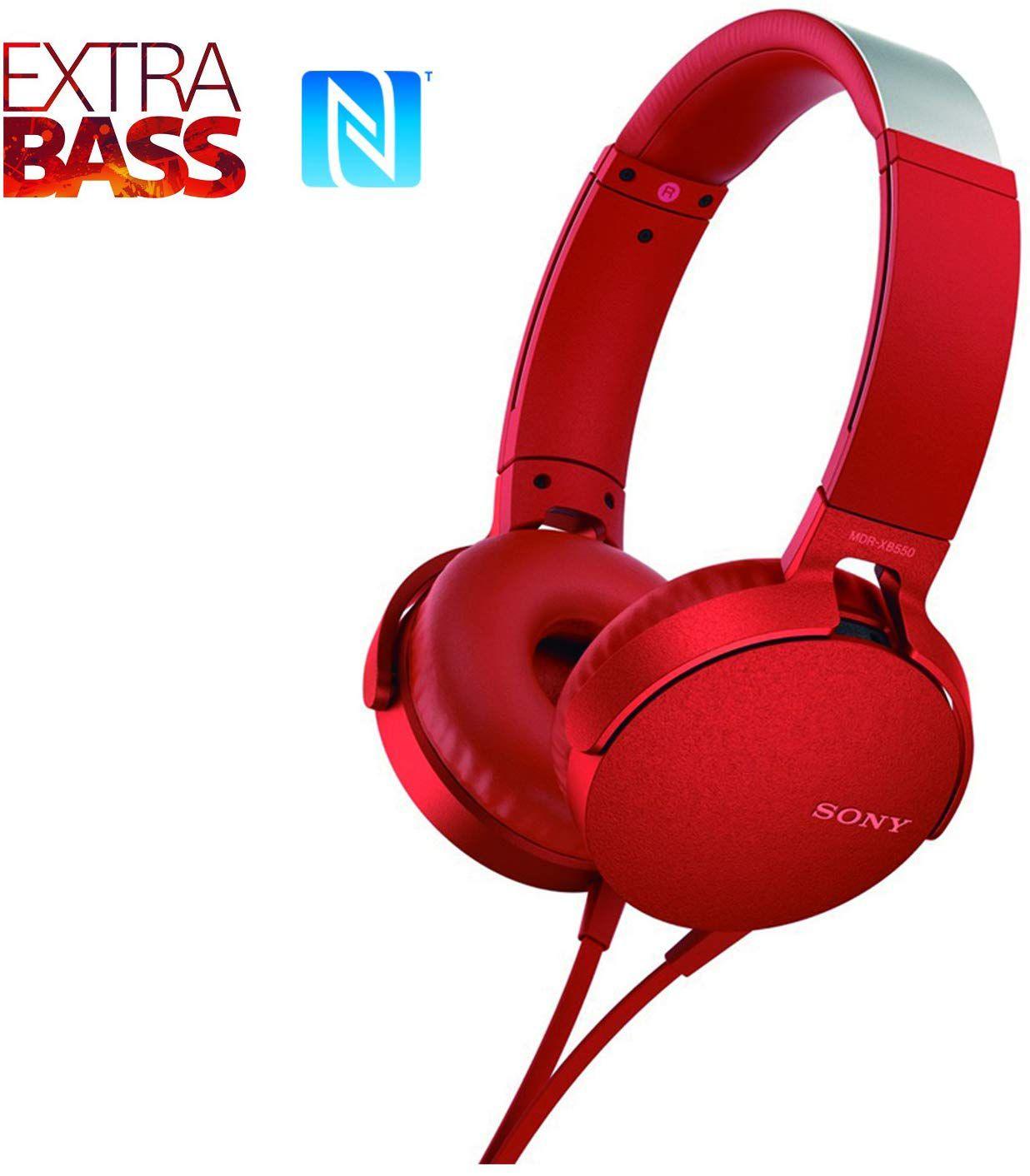 Fone de Ouvido Sony Headphone com Extra Bass Vermelho MDR XB550AP
