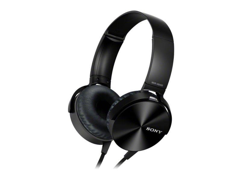 Fone de Ouvido Sony Headphone com Extra Bass Vermelho MDR XB450AP Preto