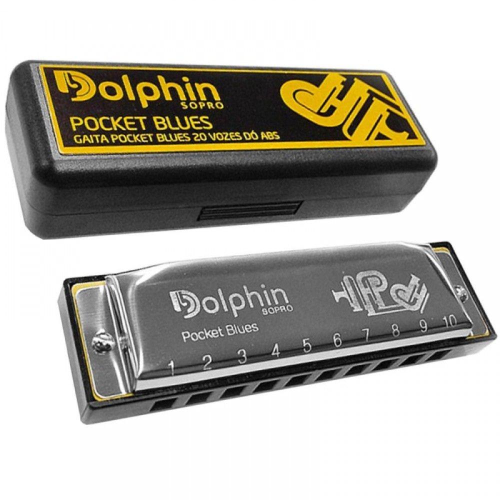 Gaita Diatônica Dolphin Pocket Blues em C (DO) 20 Vozes