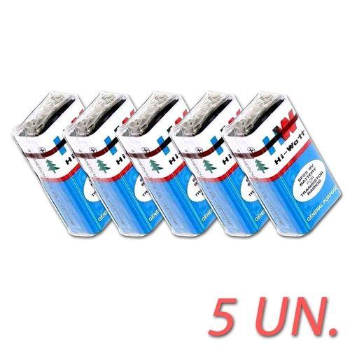 KIT com 5 Baterias 9V HV