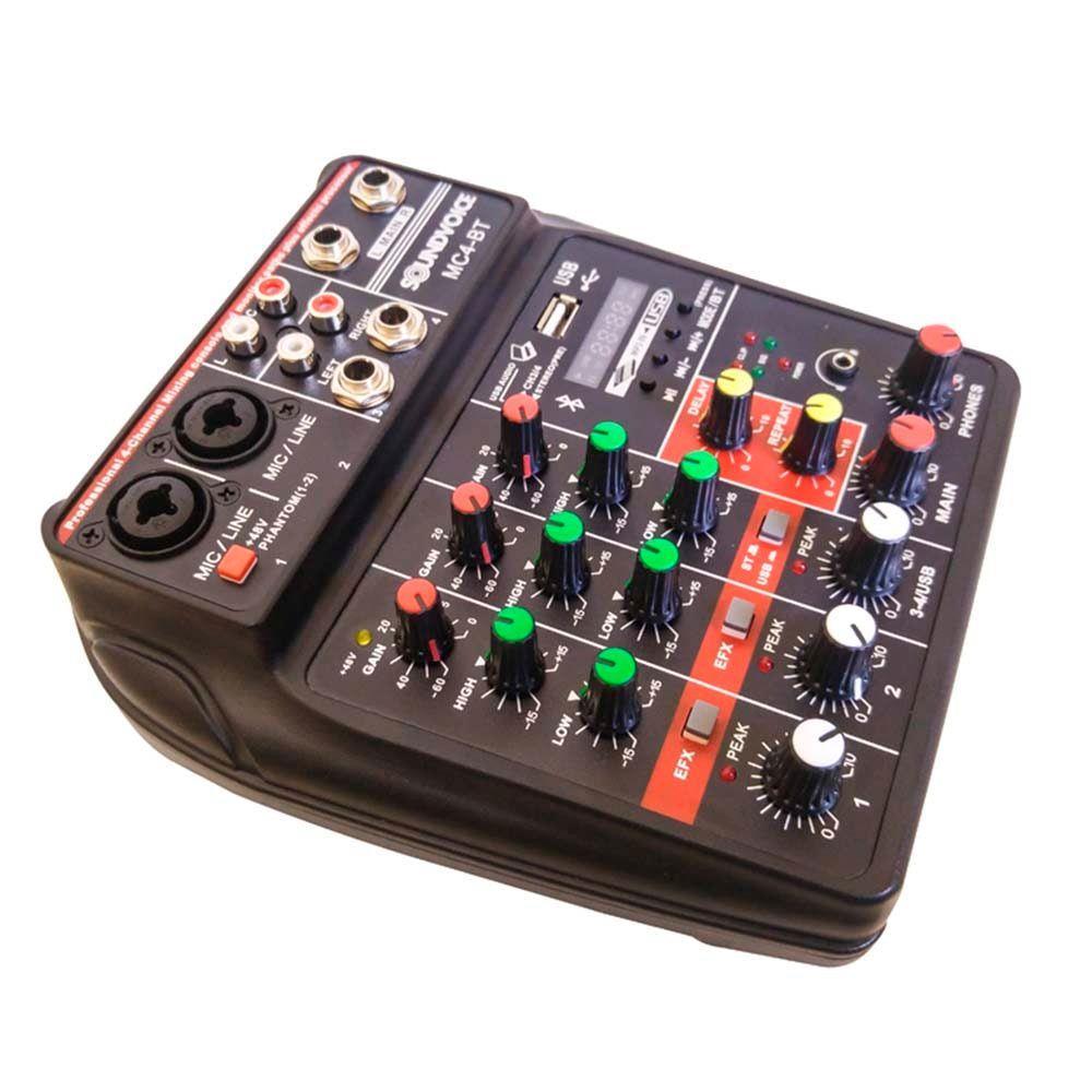 Mesa de Som Soundvoice MC4BT 4 Canais USB/BT