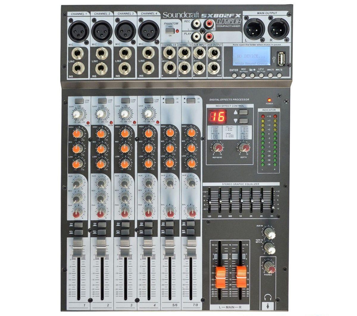 Mesa de Som SoundCraft SX802FX USB de 8 Canais