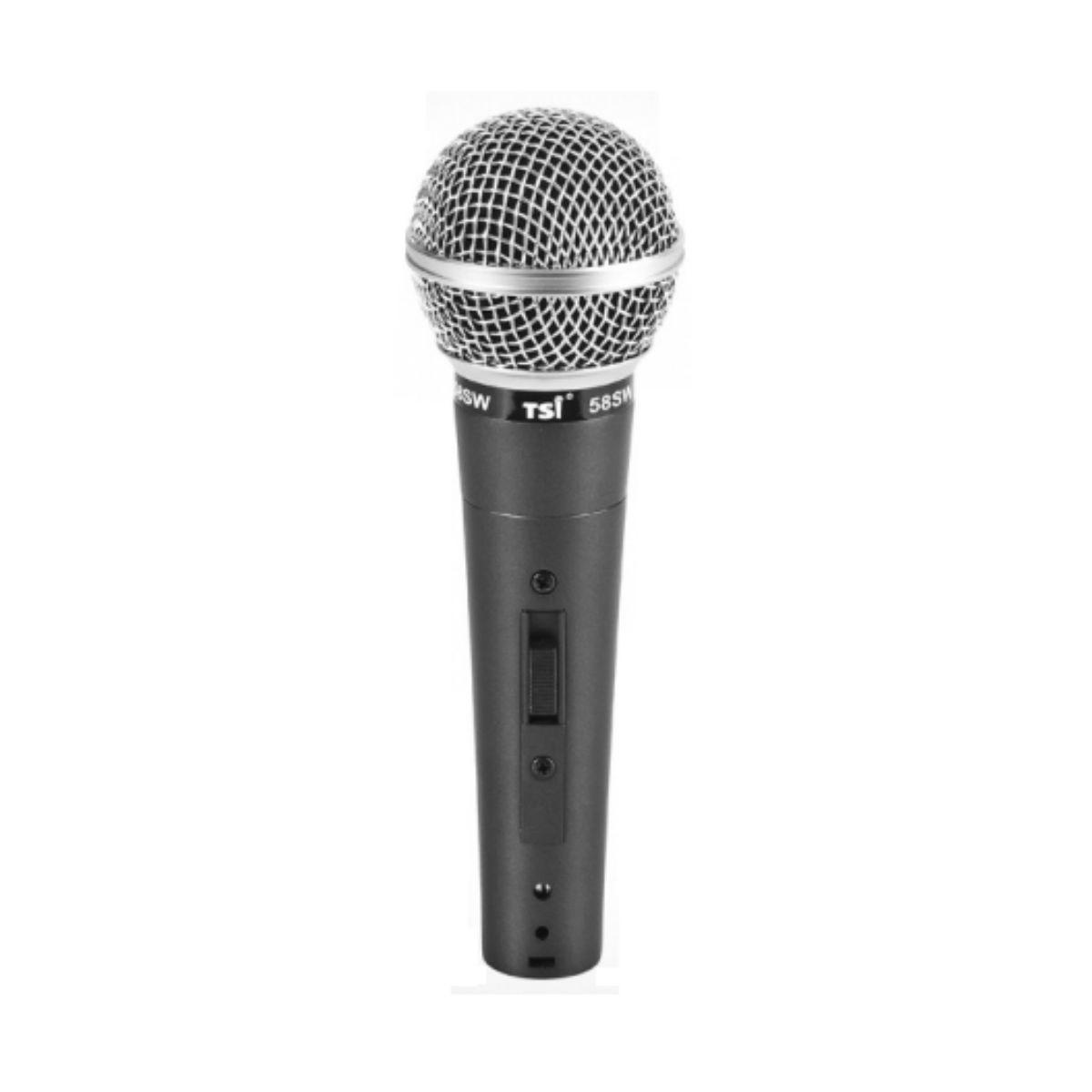 Microfone de Mão TSI 58SW com Fio e Cabo de 5 metros