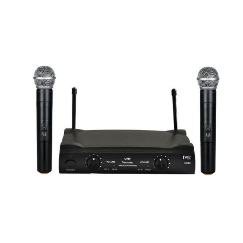 Microfone JWL sem fio 2 Microfones U585 UHF