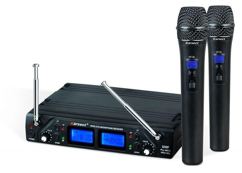 Microfone Sem Fio Vocal Duplo KRU-362