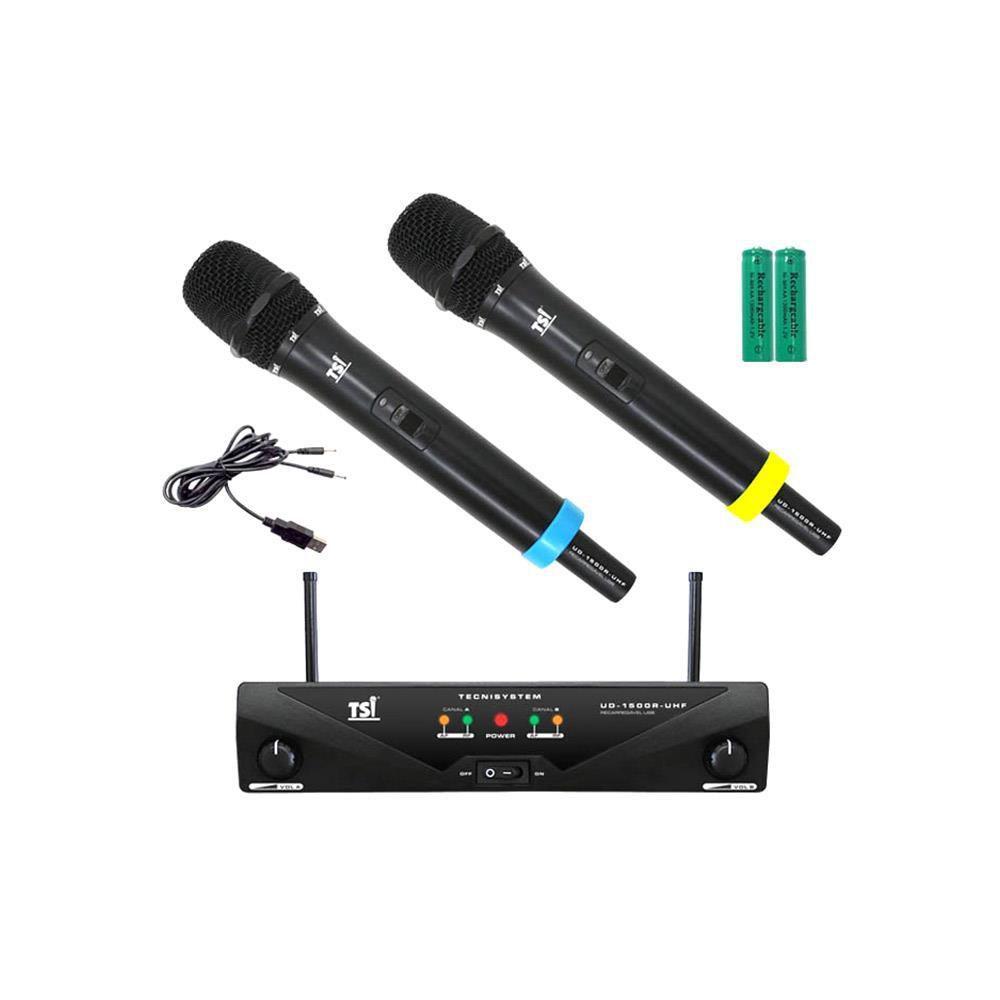 Microfone Sem Fio Duplo De Mão Uhf UD-1500R