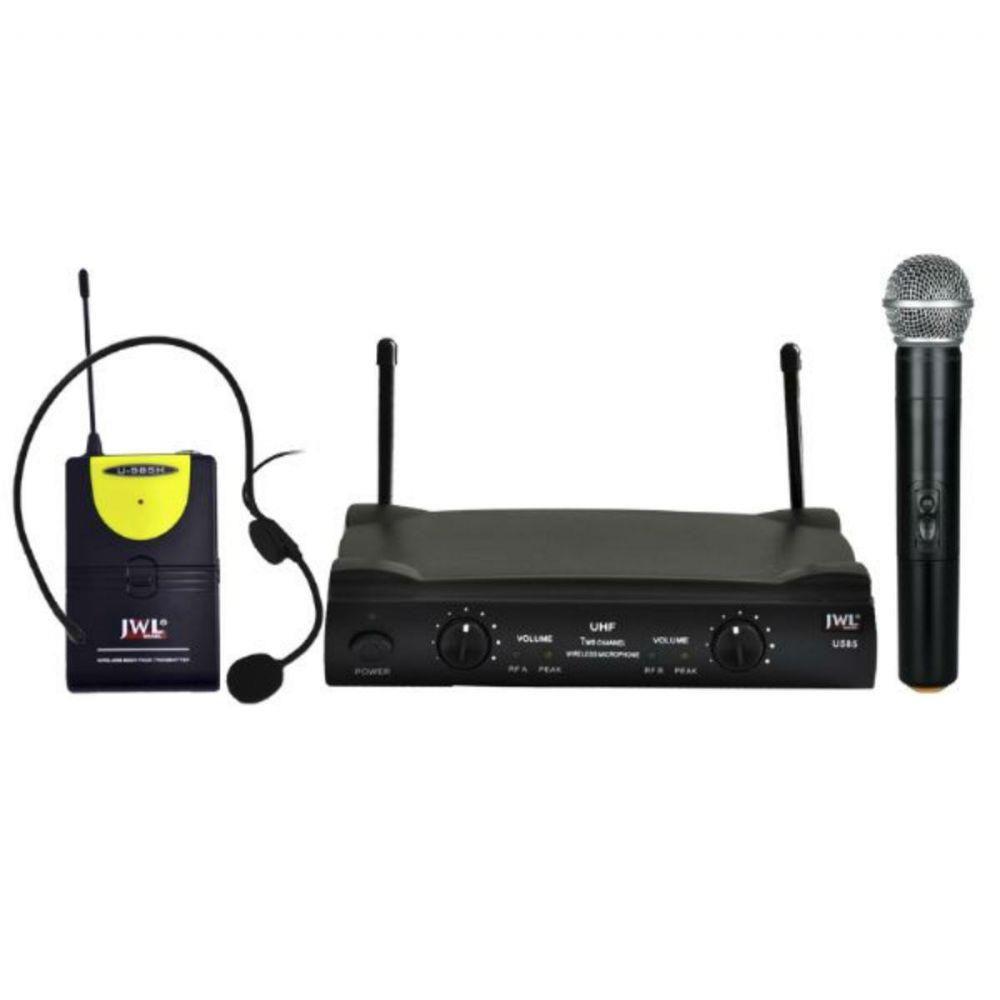 Microfone Sem Fio Duplo JWL UHF U585-HT Mão Headset