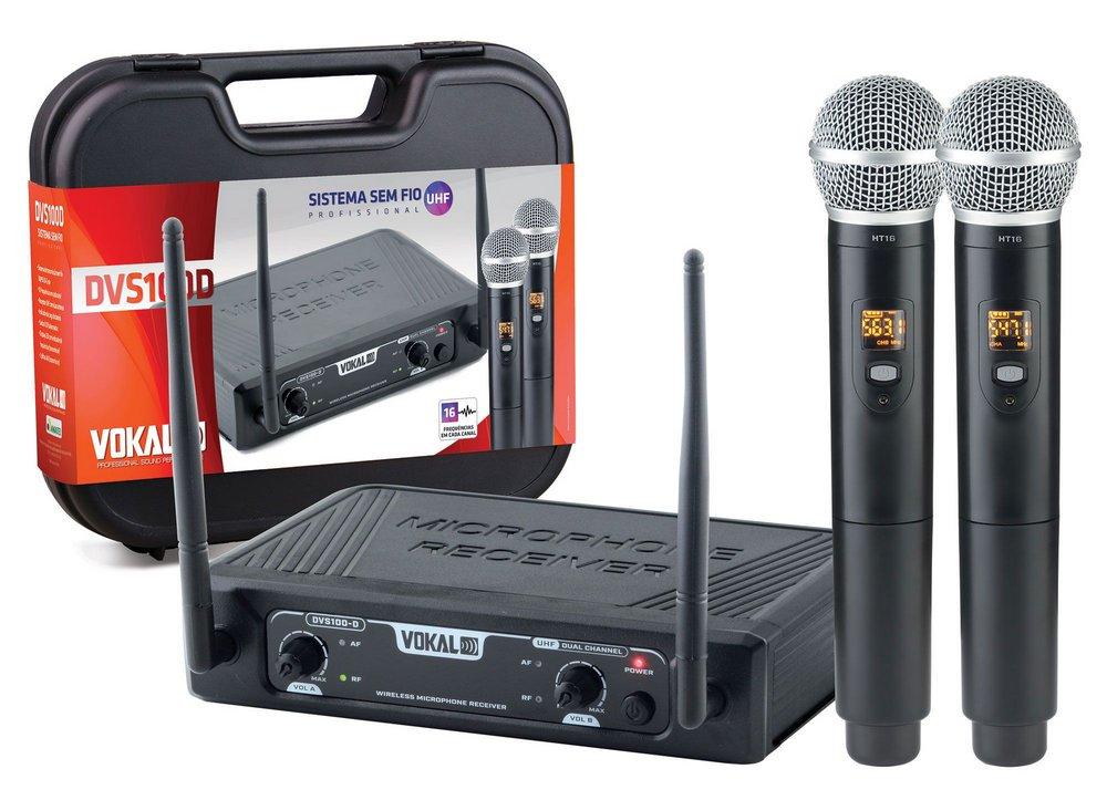 Microfone sem Fio Vokal DVS100DM 2 Microfones 16 Canais