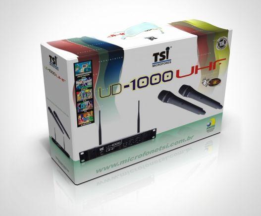 Microfones TSI sem fio UD-1000 UHF 2 Microfones