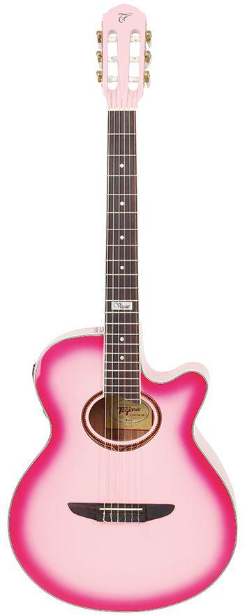 Violão Eletroacústico Tagima Vegas Tuner Nylon Pink - Afinador Digital