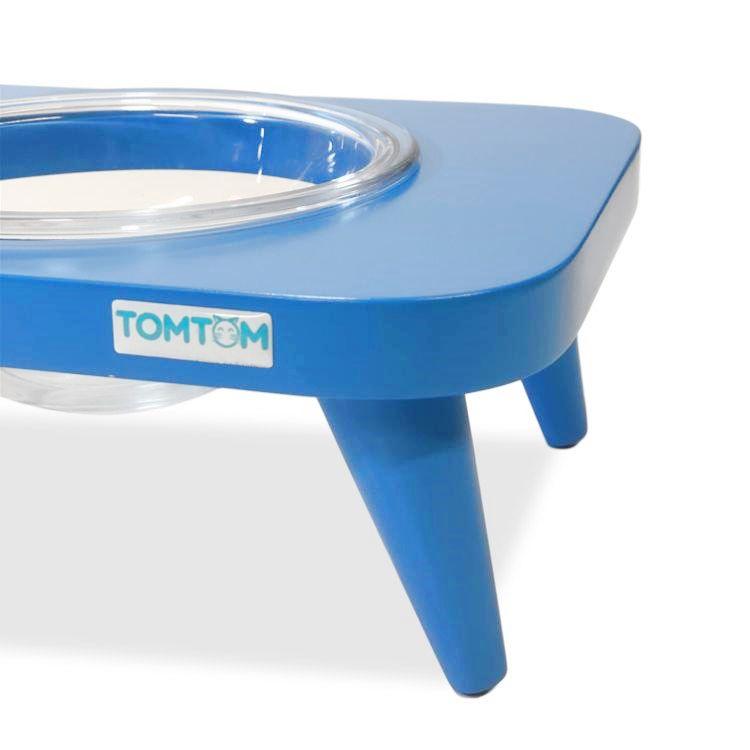 Comedouro Triplo Tomtom Azul Vidro