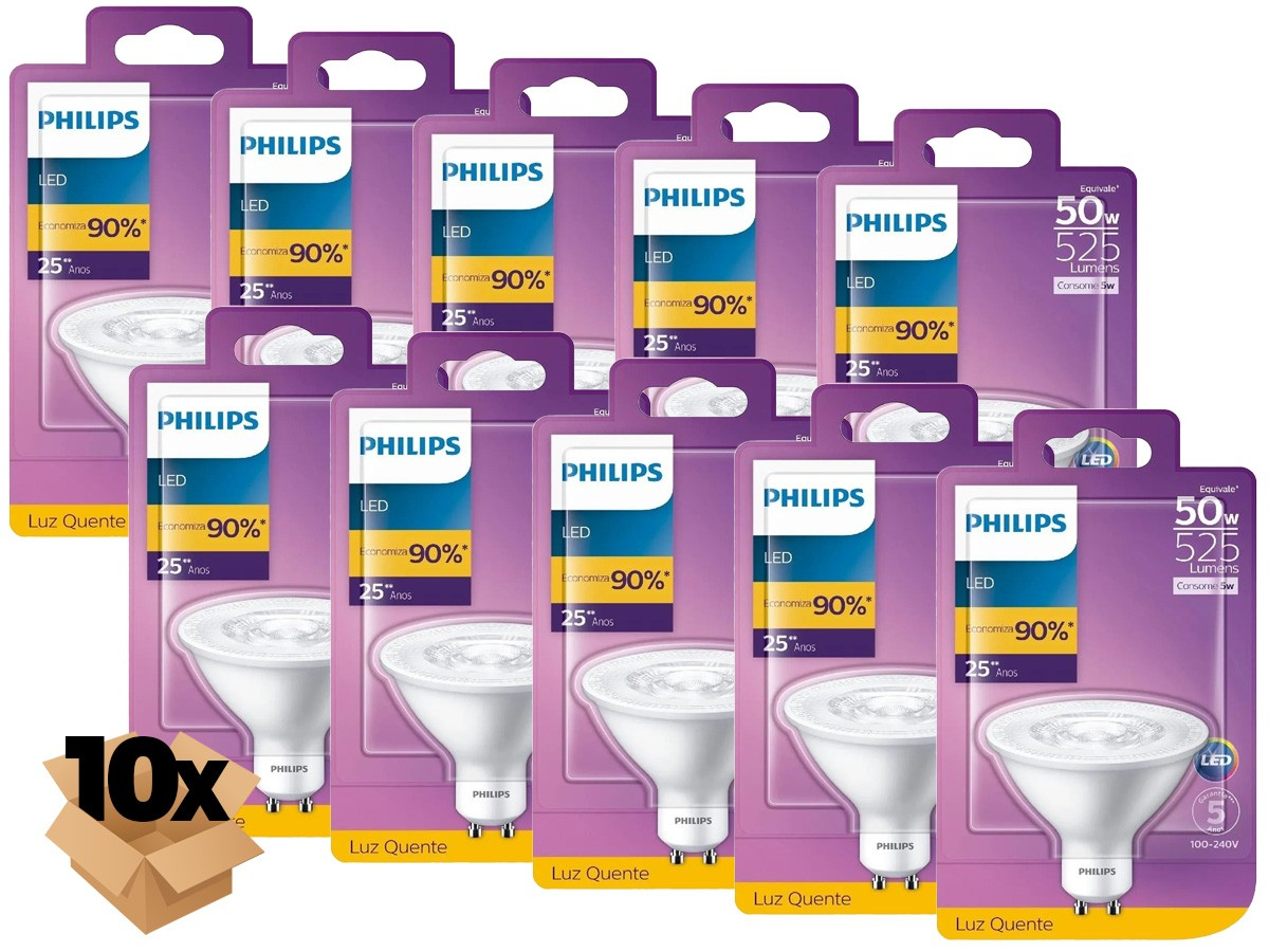 10X Lâmpada Led AR70 5W GU10 2700K 525lm Bivolt - Philips