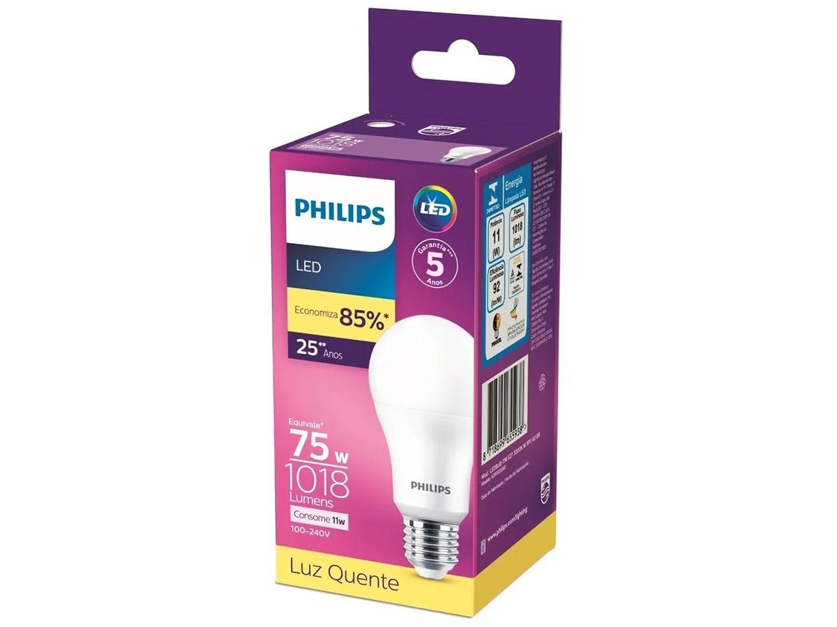 10X Lâmpada Led Bulbo A65 11W 1018lm Bivolt Equivale 75W - Philips