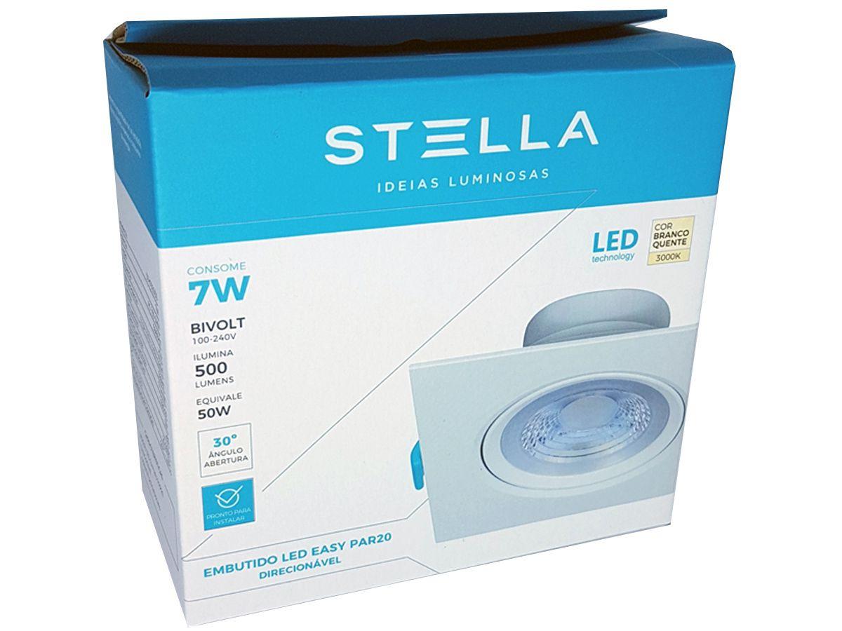 26x Embutido Led Easy Stella Par20 7w Branco Quente Sth7920