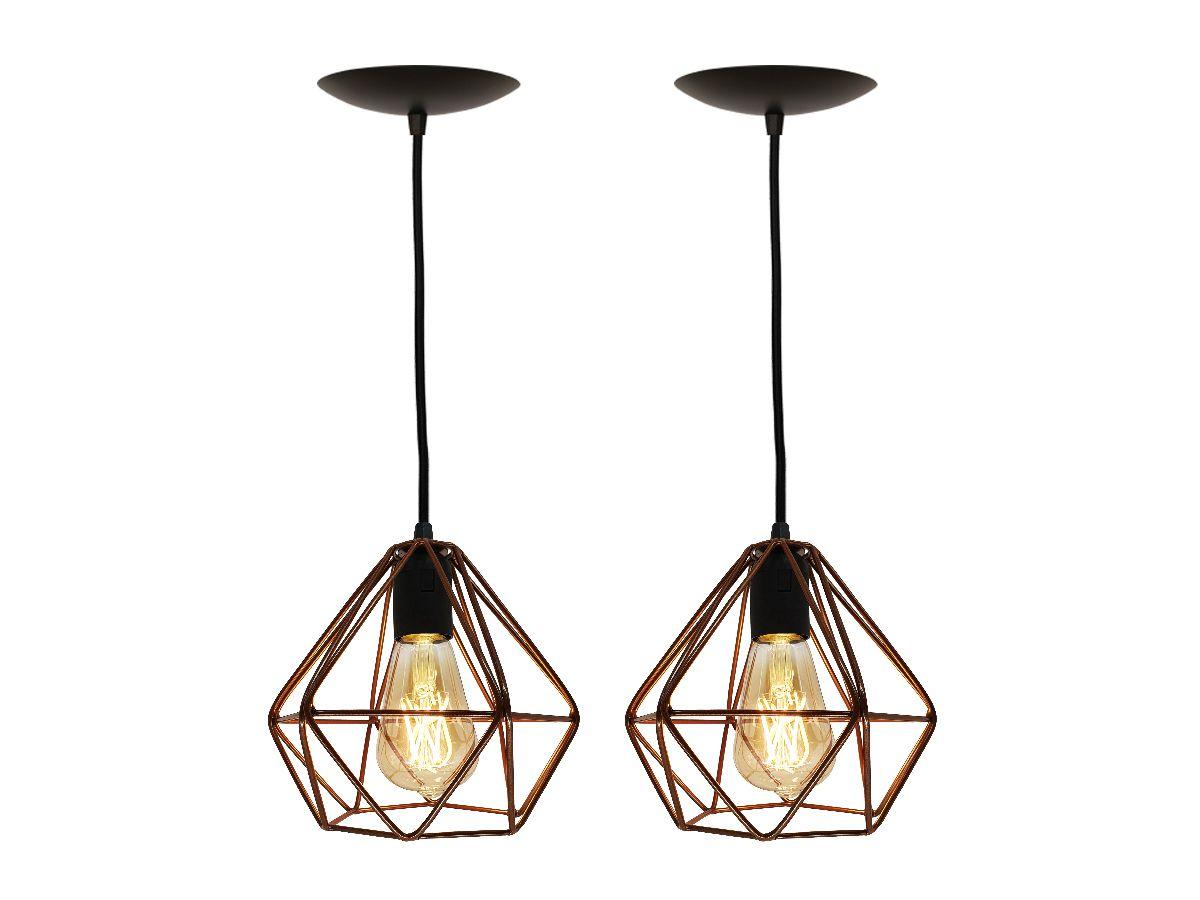 2 Luminária Pendente Aramado Diamante Cobre + Lâmpada