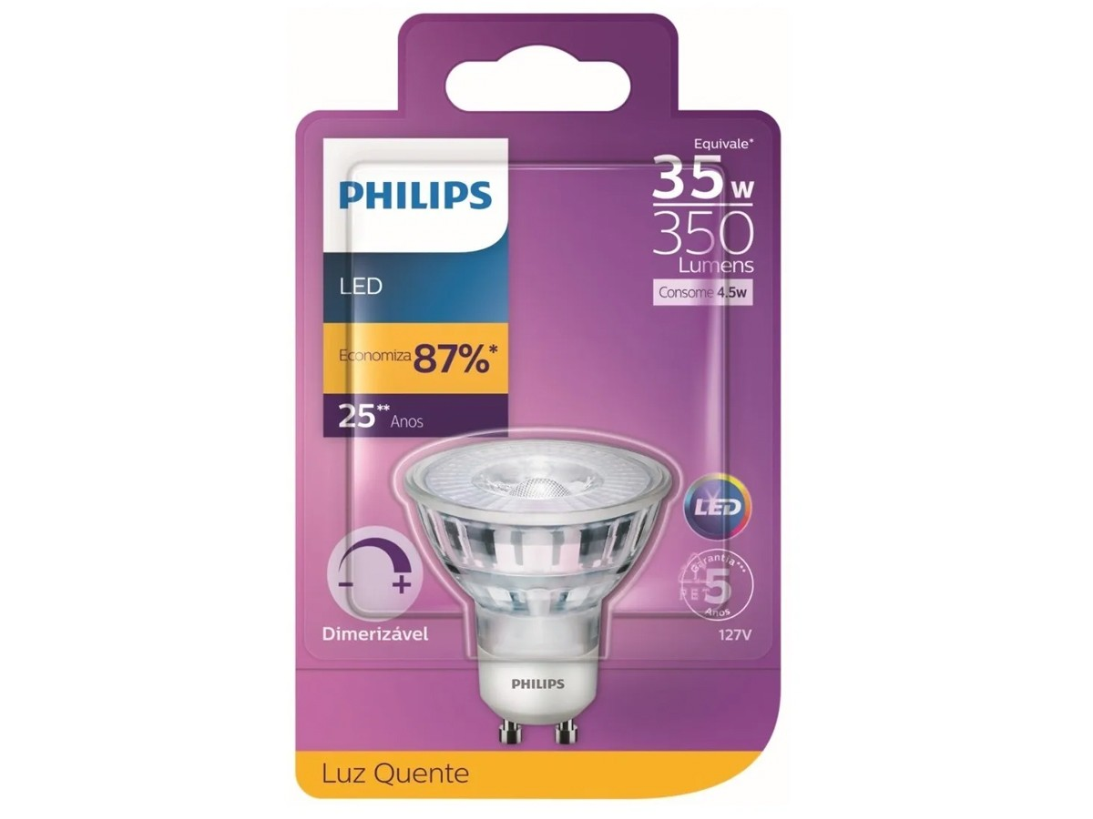 2X Lâmpada Dicroica LED 4,5W 2700K GU10 Dimerizável - Philips