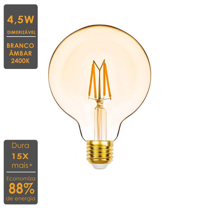 2x Lampada Led Filamento 4,5w Ballon G95 E27 Pronta Entrega