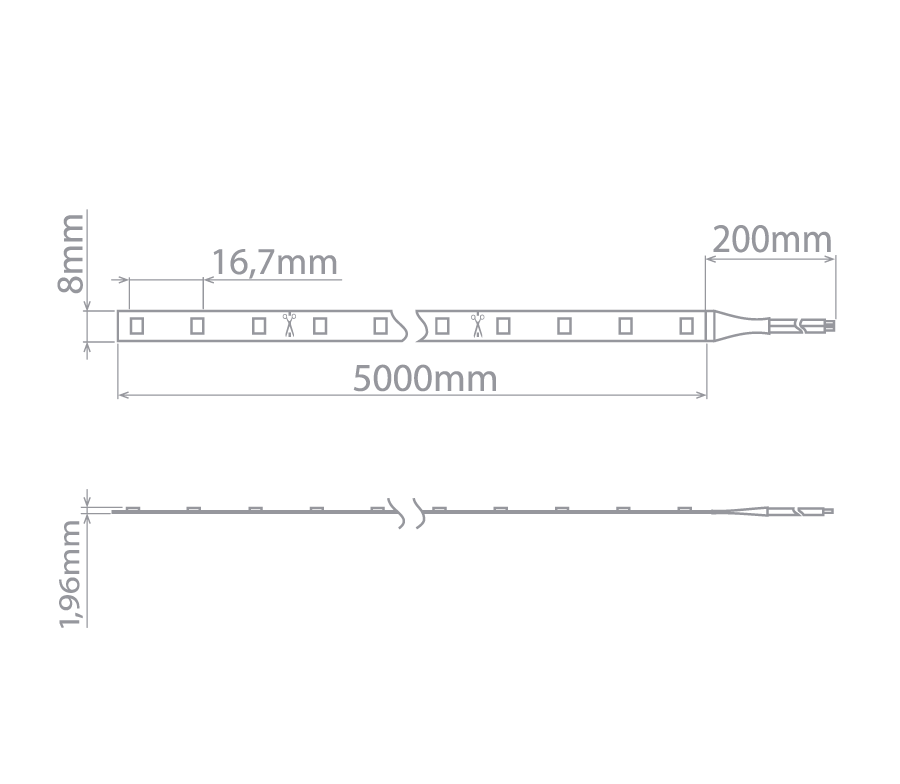 3x Fita Led Profissional 6W/M 2700k + 3 emendas + 1 Conector