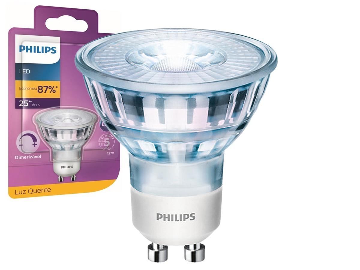 4X Lâmpada Dicroica LED 4,5W 2700K GU10 Dimerizável - Philips
