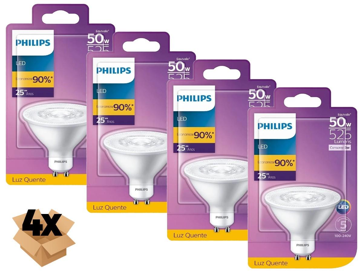4X Lâmpada Led AR70 5W GU10 2700K 525lm Bivolt - Philips