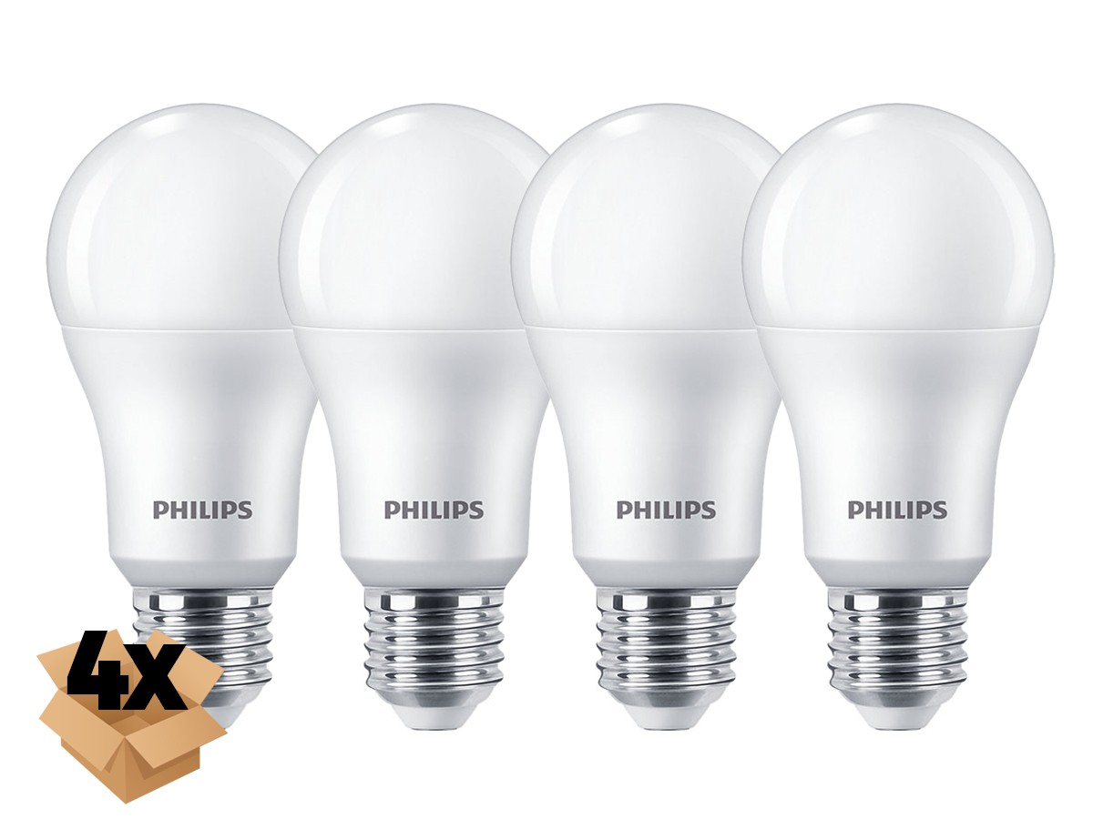 4X Lâmpada Led Bulbo A65 11W 1018lm Bivolt Equivale 75W - Philips