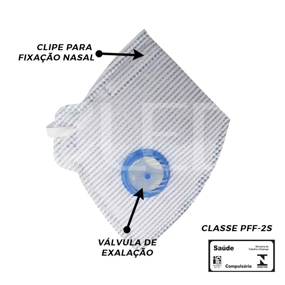 5X MÁSCARAS RESPIRATÓRIA PFF2(S) COM VÁLVULA INMETRO - AIR SAFETY